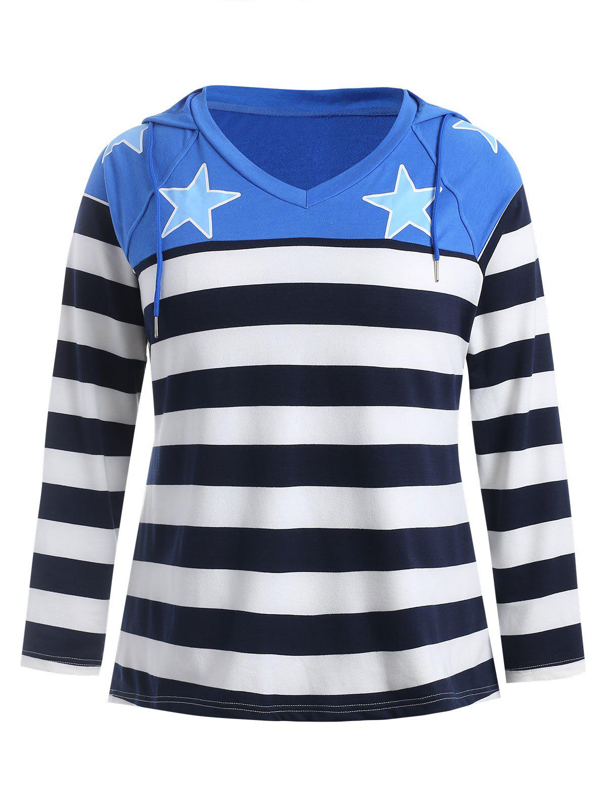 Striped Panel Plus Size Star Print Hoodie Rosegal
