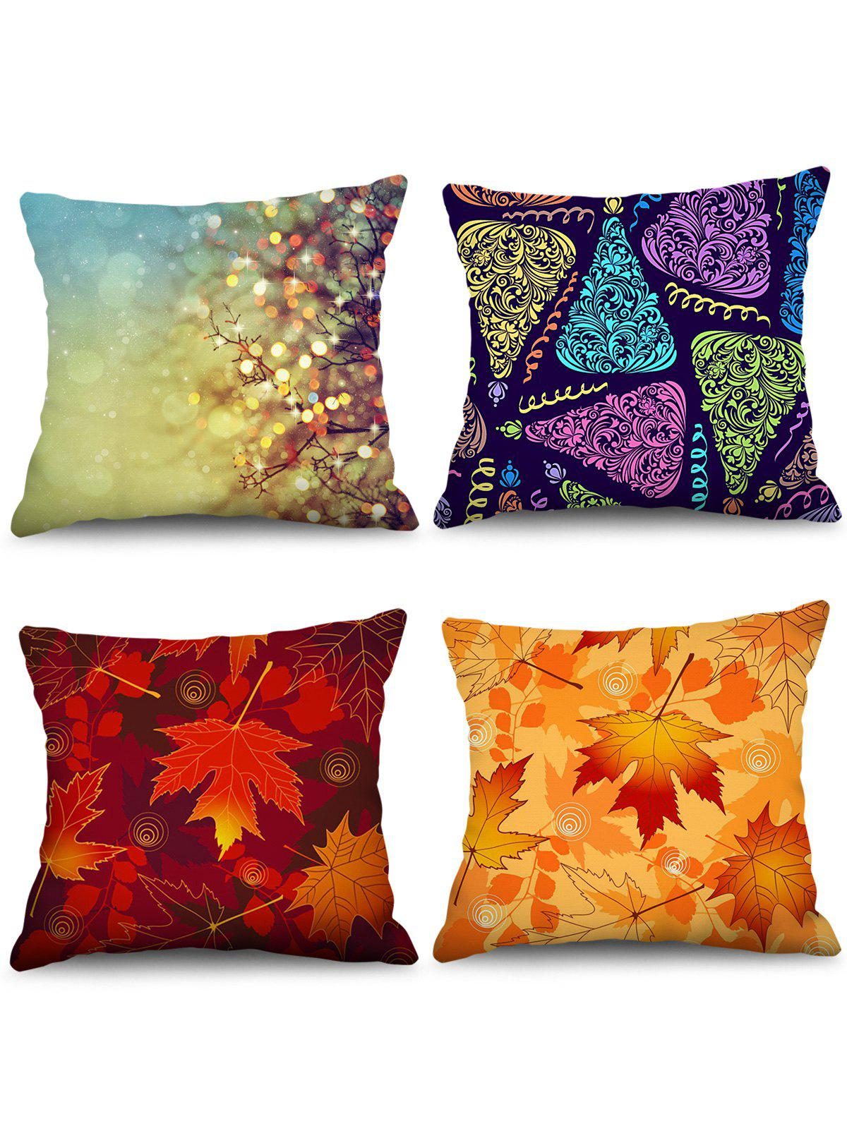 Hot 4PCS Maple Leaf Printed Theme Pillowcases