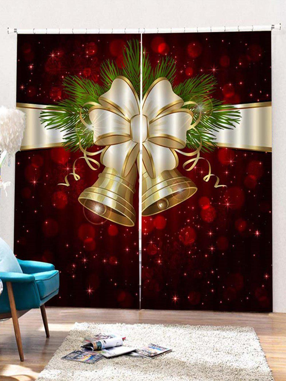 Chic 2PCS Christmas Bell Printed Window Curtains