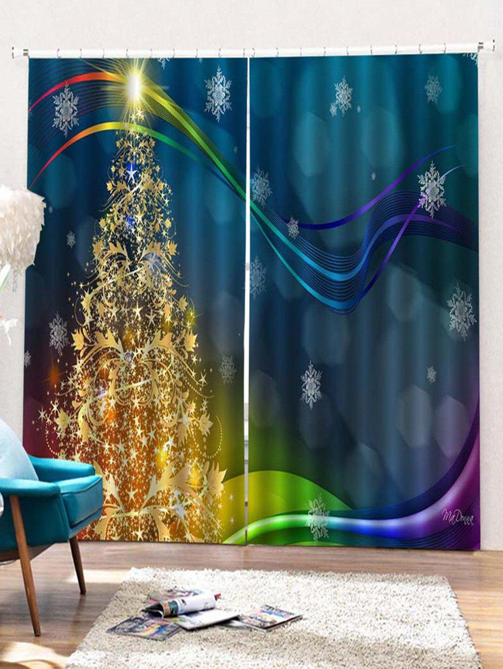Store 2PCS Christmas Tree Snowflake Printed Window Curtains