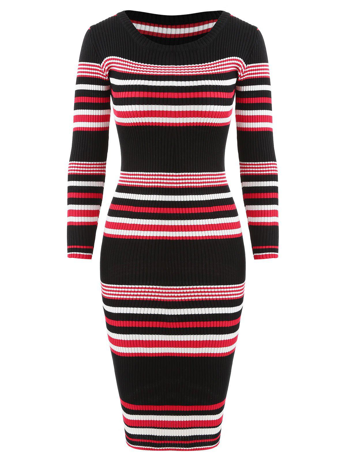 Outfits Striped Bodycon Knitwear Dress