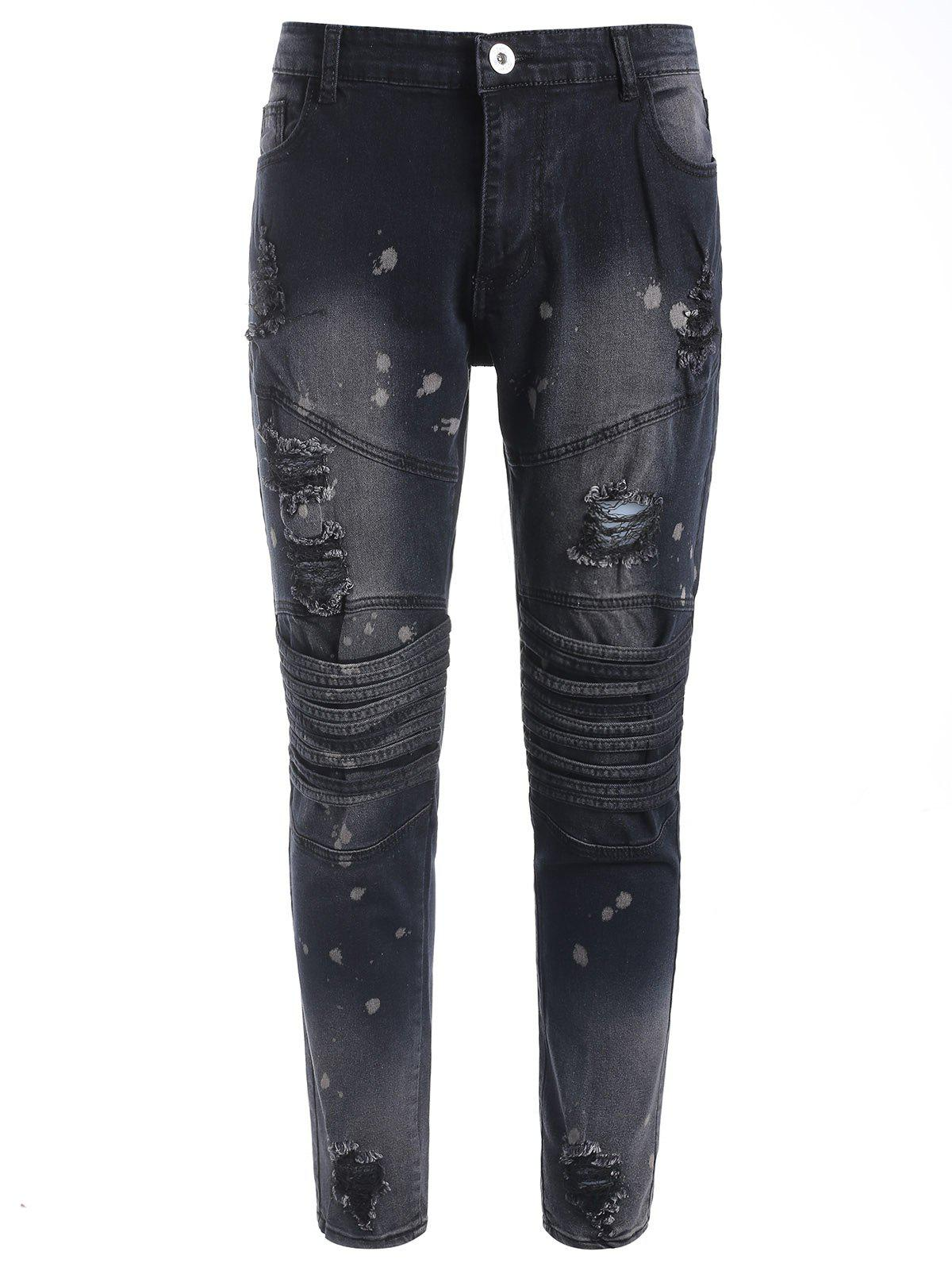 New Paint Splatter Ripped Zip Fly Jeans