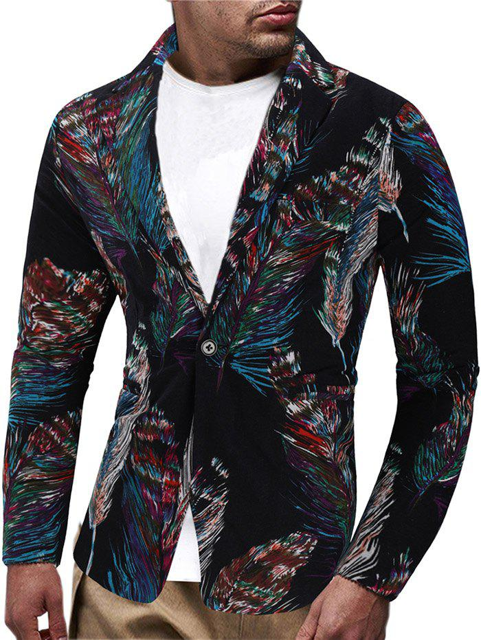 Fancy Feather Patter One Button Blazer