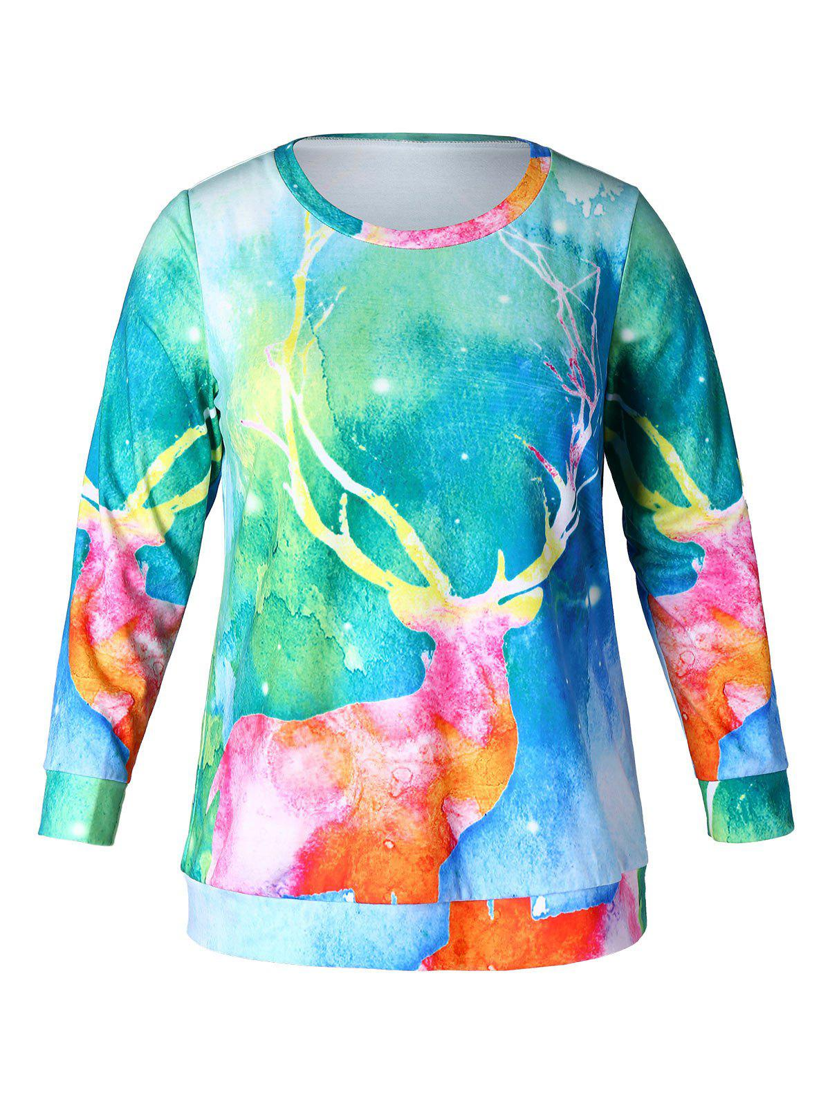 Fashion Plus Size Reindeer Print Christmas Sweatshirt