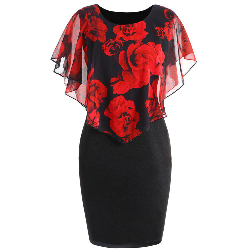 Store Plus Size Rose Overlay Dress