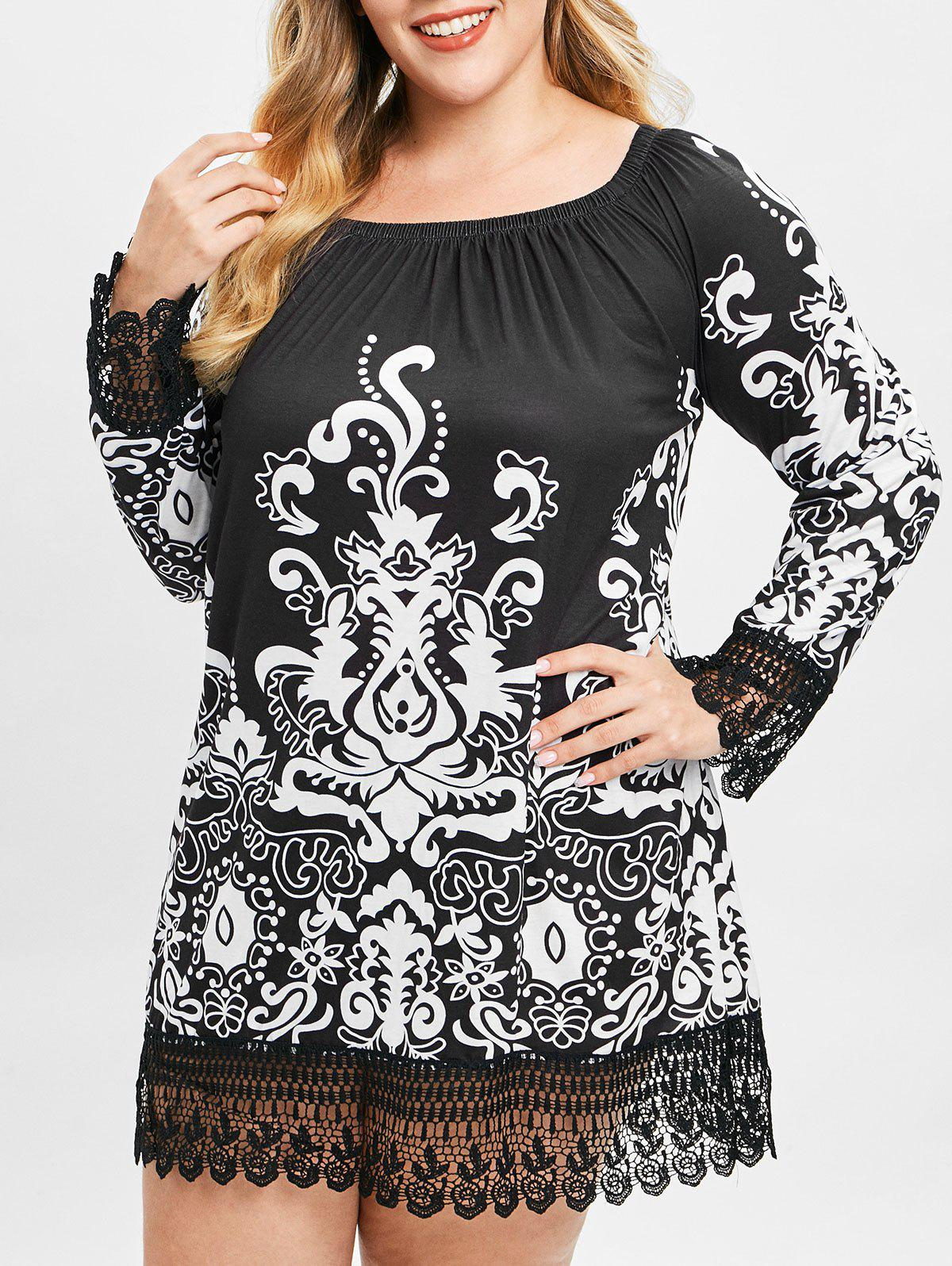 Plus Size Tribal Print Mini Shift Dress