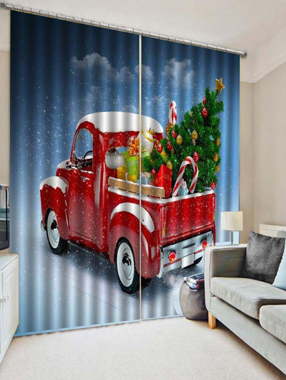 New 2PCS Christmas Gift Car Printed Window Curtains