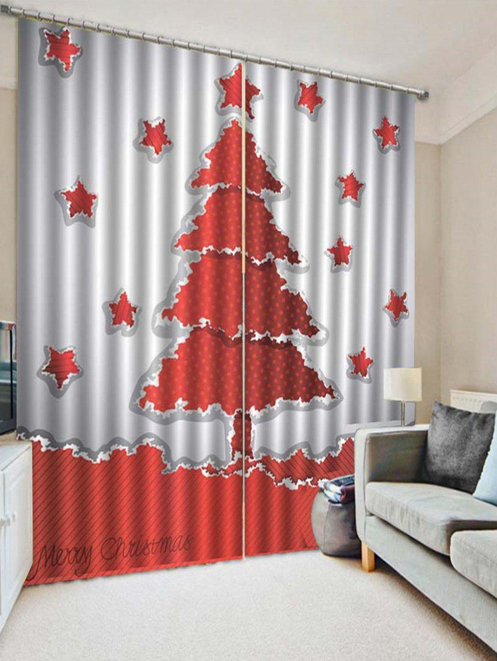 Latest 2PCS Christmas Tree Star Printed Window Curtains