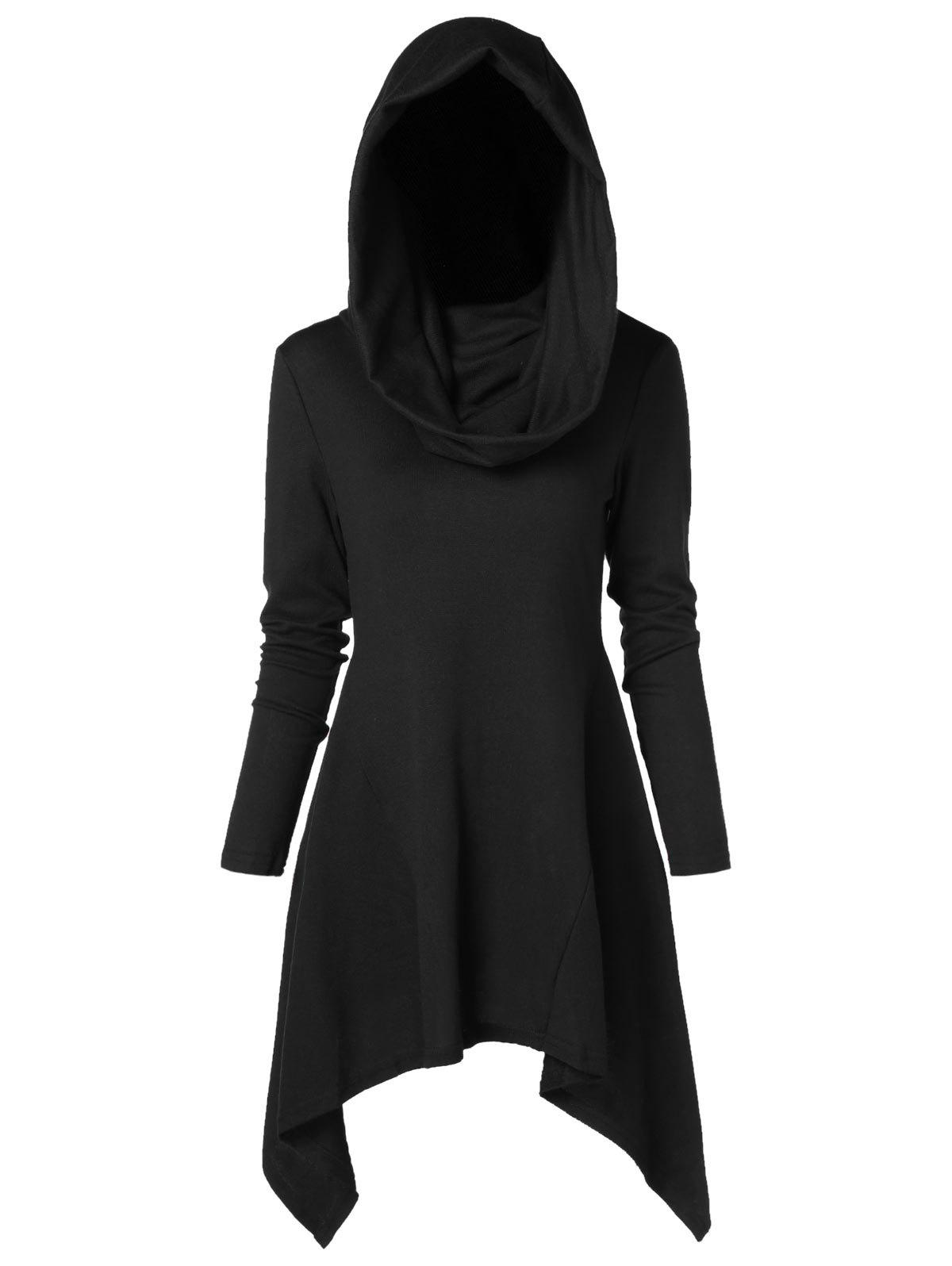 Discount Long Asymmetrical Hooded Knitwear