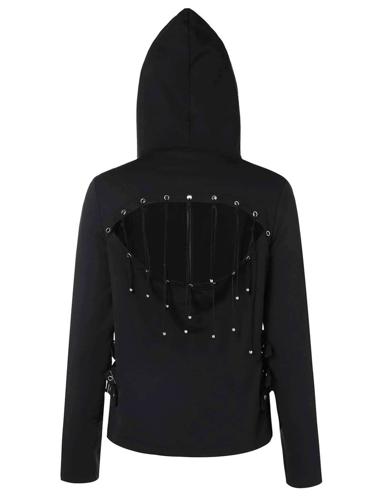 Fashion Strappy Cut Back Zip Up Hoodie