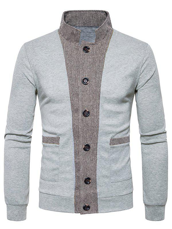 Discount Button Up Stand Collar Panel Cardigan