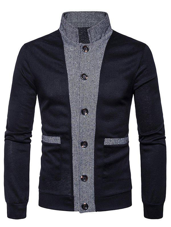 Chic Button Up Stand Collar Panel Cardigan