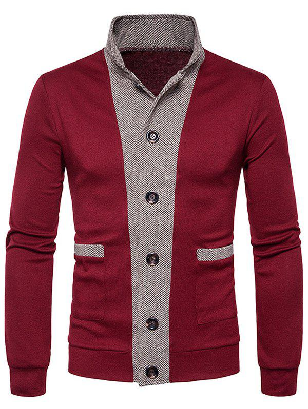 Latest Button Up Stand Collar Panel Cardigan