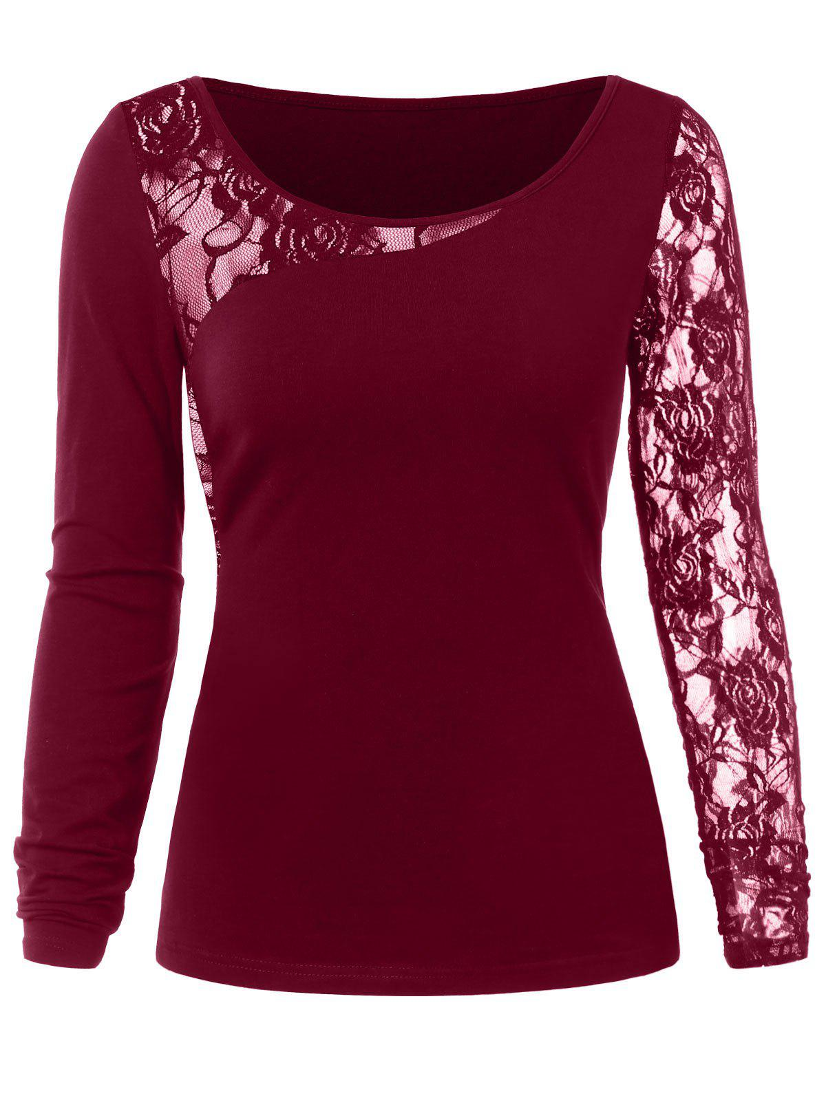 Latest Floral Lace Insert Tee