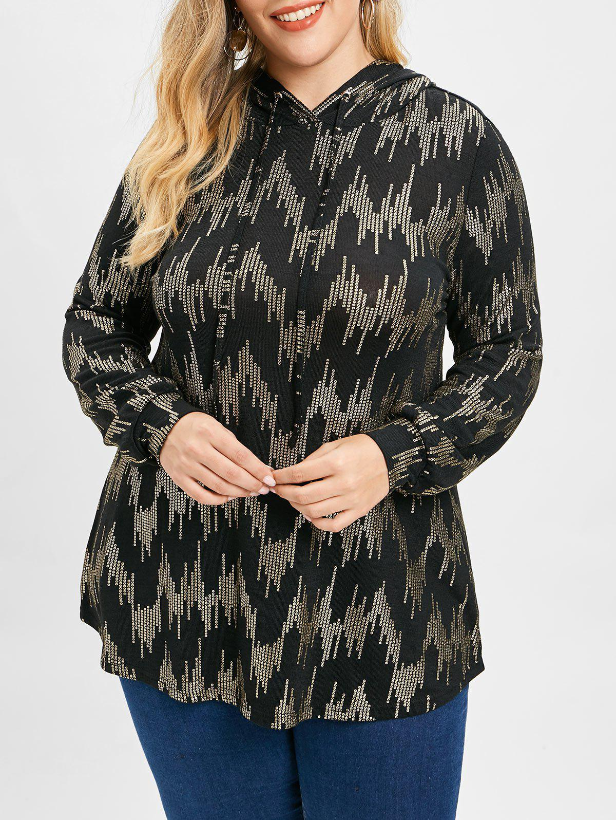 Affordable Sequin Print Plus Size Drawstring Hoodie