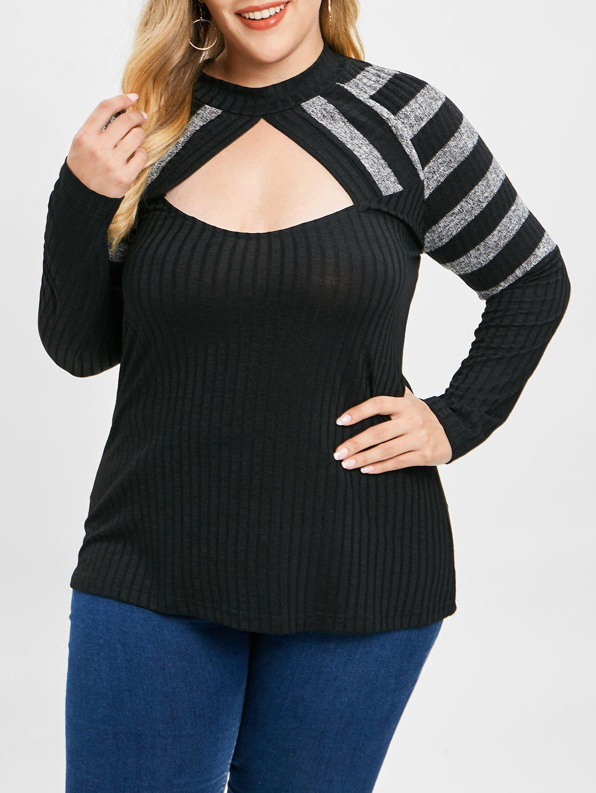 Unique Plus Size Contrast Stripe Cut Out Knit Top
