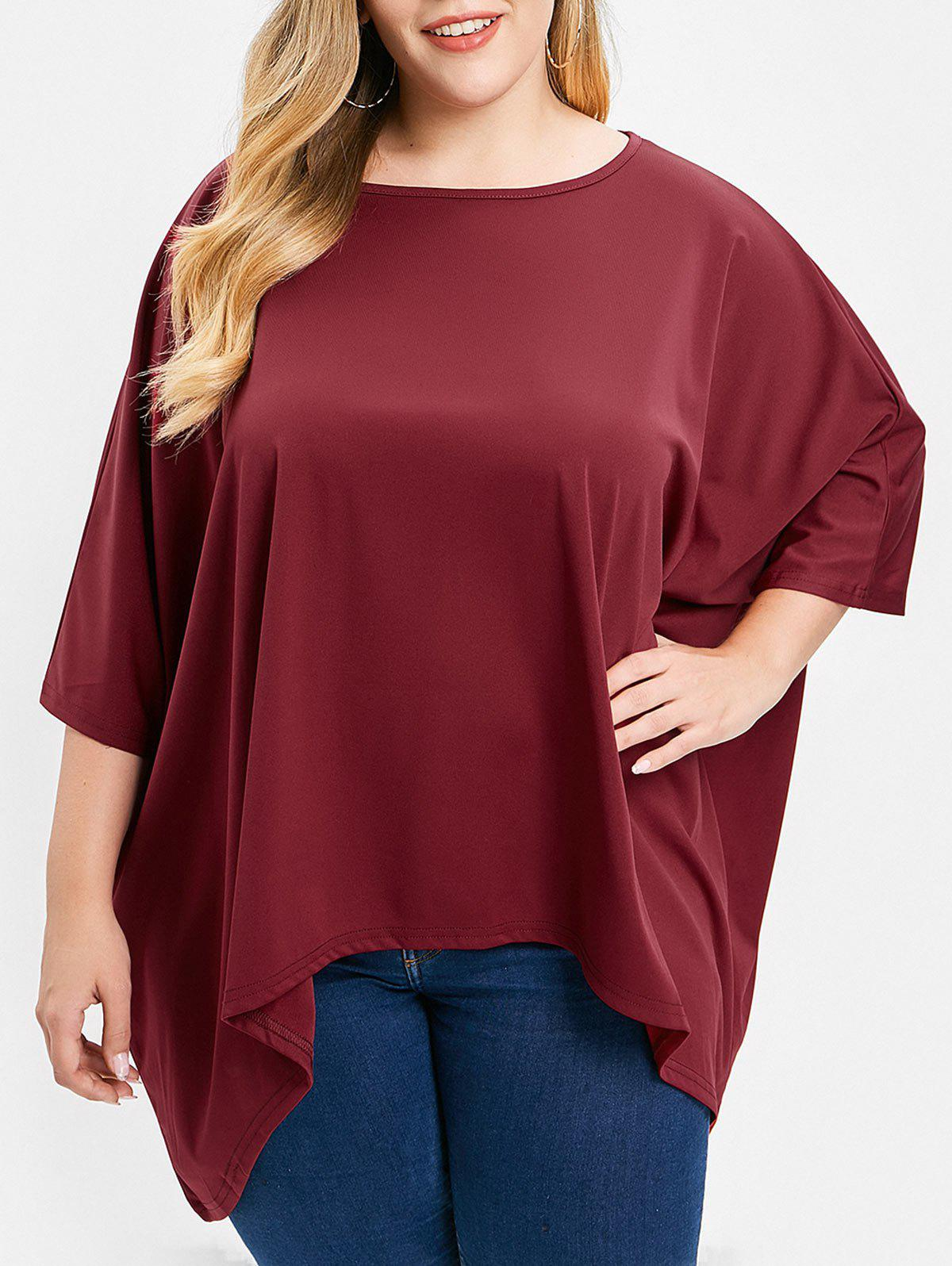 Outfit Plus Size Batwing Sleeve High Low T-shirt