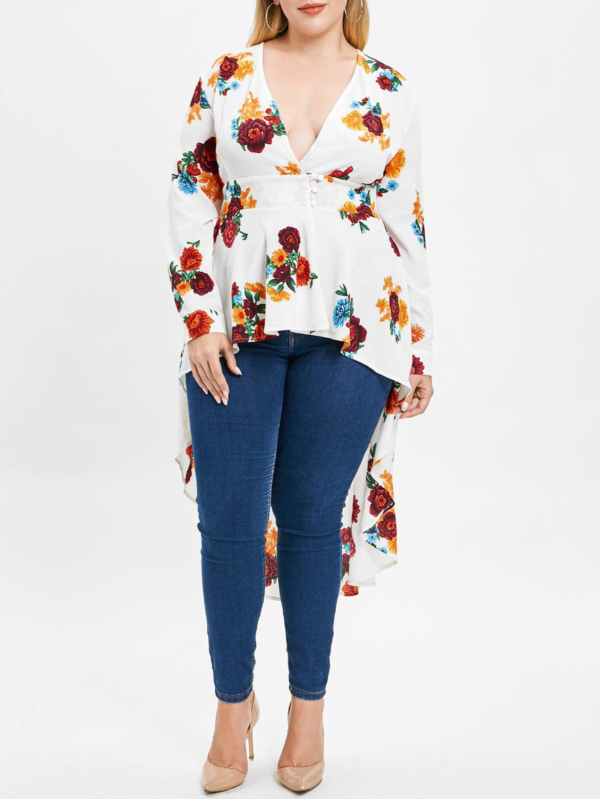 Store Plus Size Plunge High Low Floral Maxi Blouse