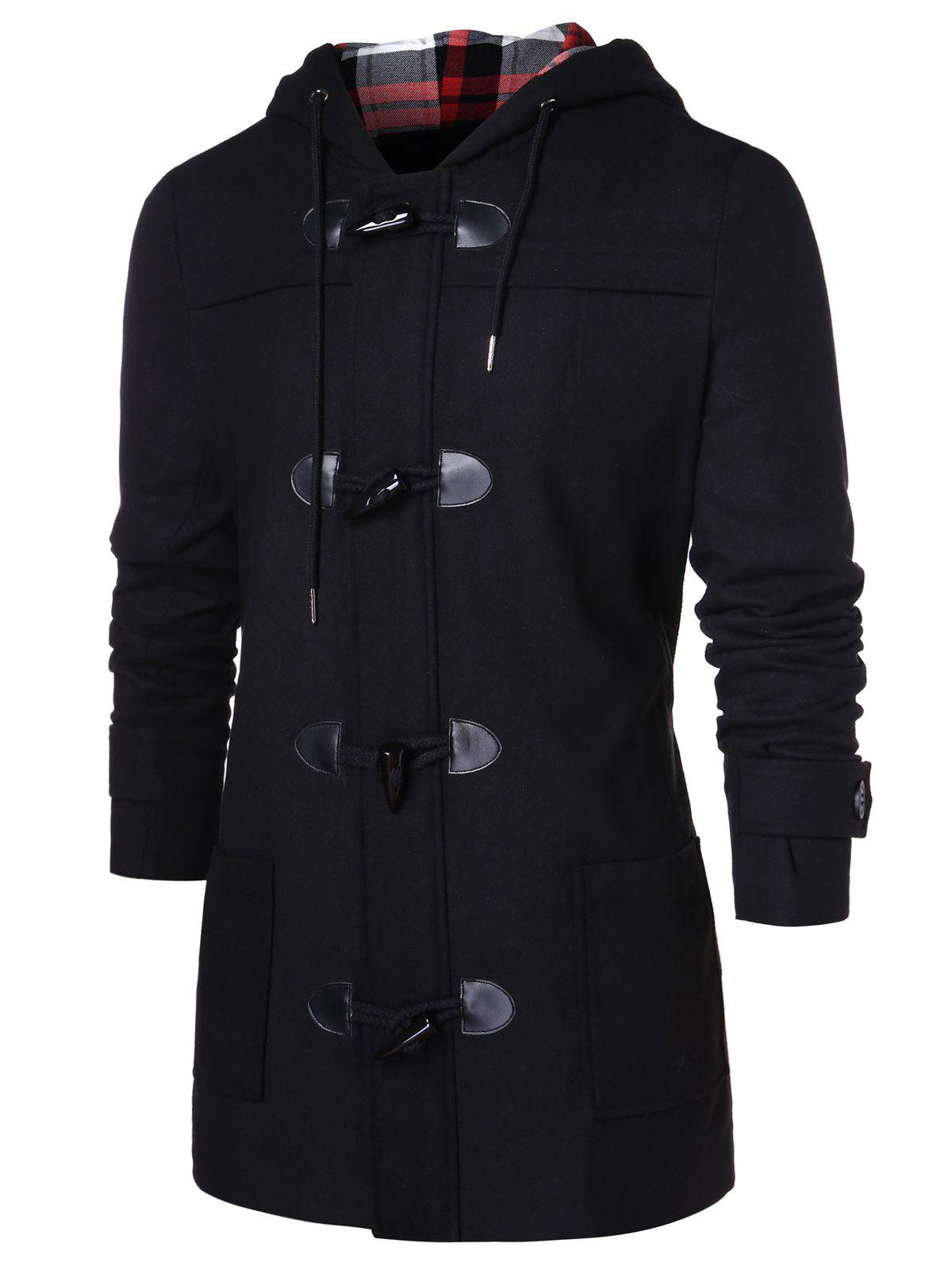 Discount Checked Print Panel Hooded Duffle Coat
