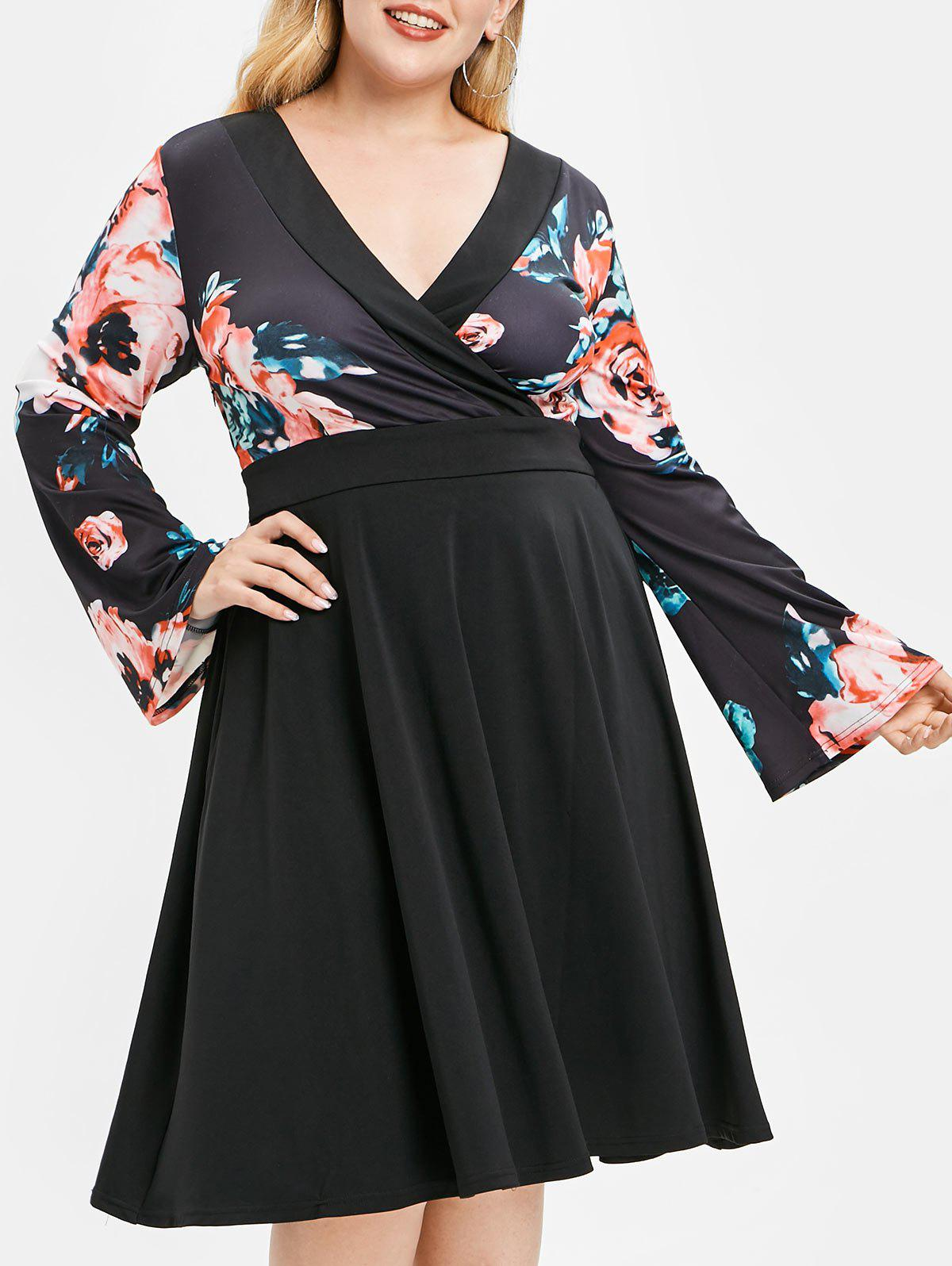 Cheap Plus Size Floral High Waist Surplice Dress
