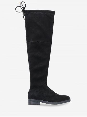 Chunky Heel Suede Thigh High Boots