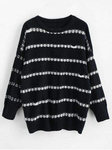 Plus Size Crew Neck Stripe Sweater