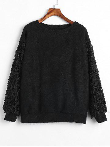 Plus Size Shiny Fringed Sleeves Sweater