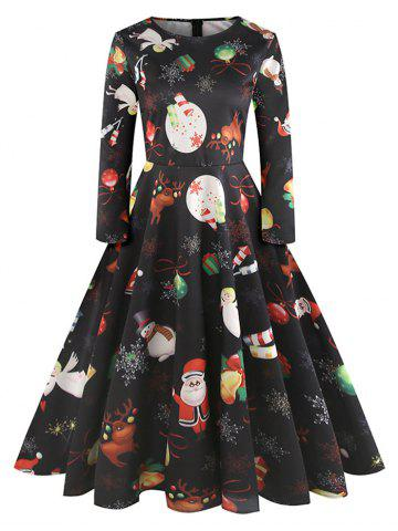 Christmas Printed High Waist Swing Dress