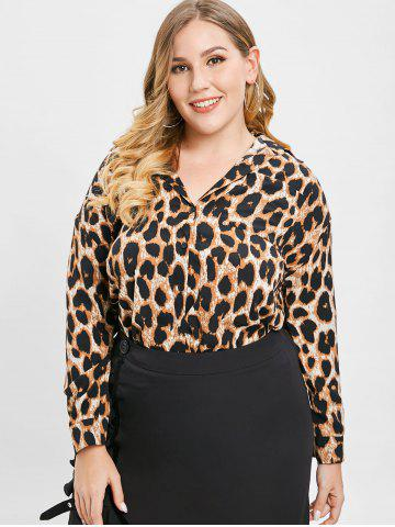 ec438549a38 Plus Size Leopard Print Tops - Long Sleeve