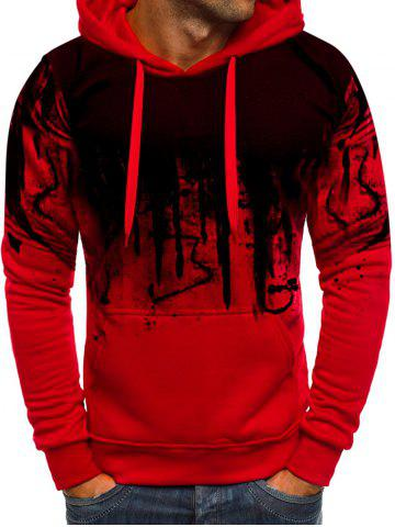 Ink Print Pouch Pocket Pullover Fleece Hoodie