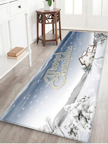Snowy Christmas Print Anti-skid Water Absorption Area Rug - MULTI - W24 X L71 INCH