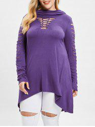 Ladder Cut Out Sleeve Plus Size Hooded T-shirt -