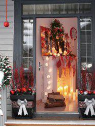 Christmas Fireplace Candle Print Door Stickers -