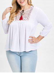 Plus Size Embroidery Tassels Peasant Blouse -