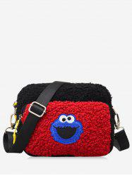 Cartoon Pattern Fluffy Leather Crossbody Bag -