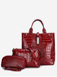 Patent Leather Tote Bags Set -