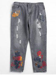 Plus Size Spray Paint Ripped Jeans -