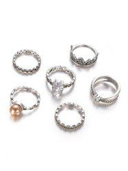 Crown Pattern and Round Rhinestone Rings Set -