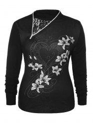 Plus Size Floral Zipper T-shirt -