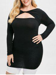 Plus Size Ruffles Twisted Front Cut Out T-shirt -
