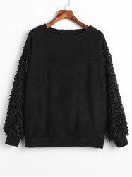 Plus Size Shiny Fringed Sleeves Sweater -