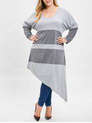 Plus Size Two Tone Asymmetrical Tee -