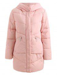 Hooded Pockets Long Padded Coat -
