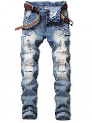 Vintage Hole Patchwork Ripped Faded Jeans -