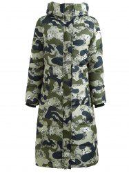 Hooded Camouflage Print Long Puffer Coat -