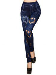 Hole Heart Printing Faux Denim Pants -