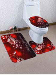 Christmas Hanging Balls Pattern 3 Pcs Toilet Mat Set -