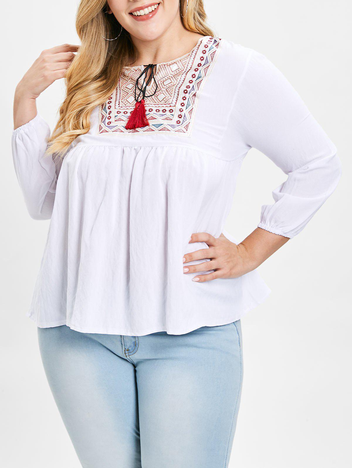Outfit Plus Size Embroidery Tassels Peasant Blouse
