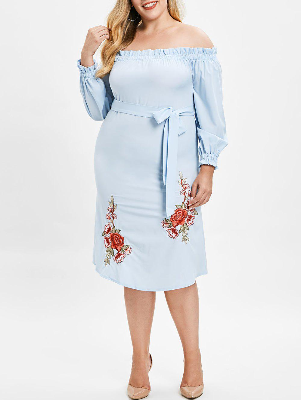 Outfits Plus Size Off Shoulder Embroidered Shift Dress
