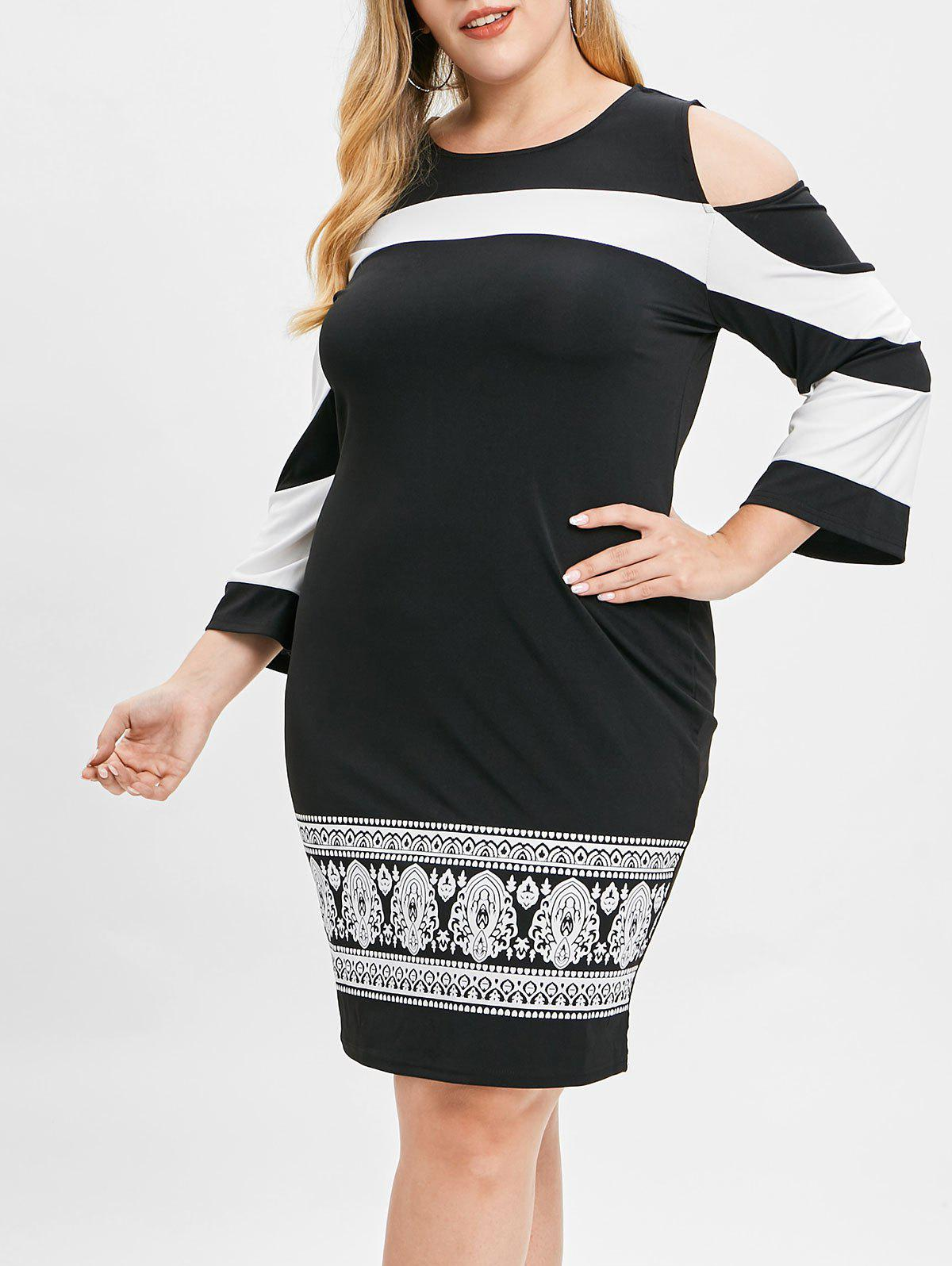 Plus Size Open Shoulder Ethnic Print Dress, Black